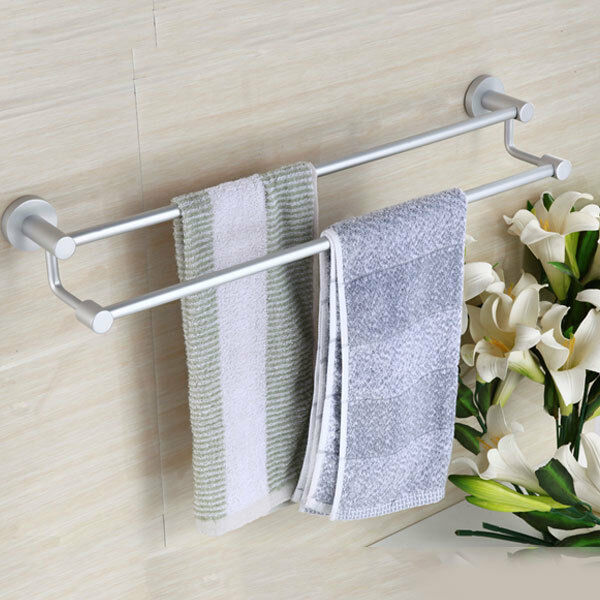 Double Layer Towel Rack Rail Holder Wall Mounted Bathroom Aluminum Towel Hanger Ebay