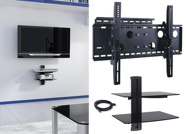 new tv wall mount with double glass shelf unit supports screen sizes 30 to 85 ebay. Black Bedroom Furniture Sets. Home Design Ideas