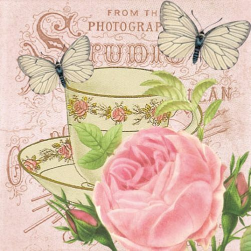 20 Paper Napkins MATINEE Decoration Butterfly Rose DECOUPAGE SHABBY ...