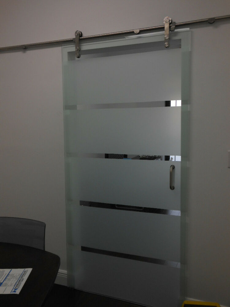 Glass barn door with hardware polished tempered frosted or clear ebay