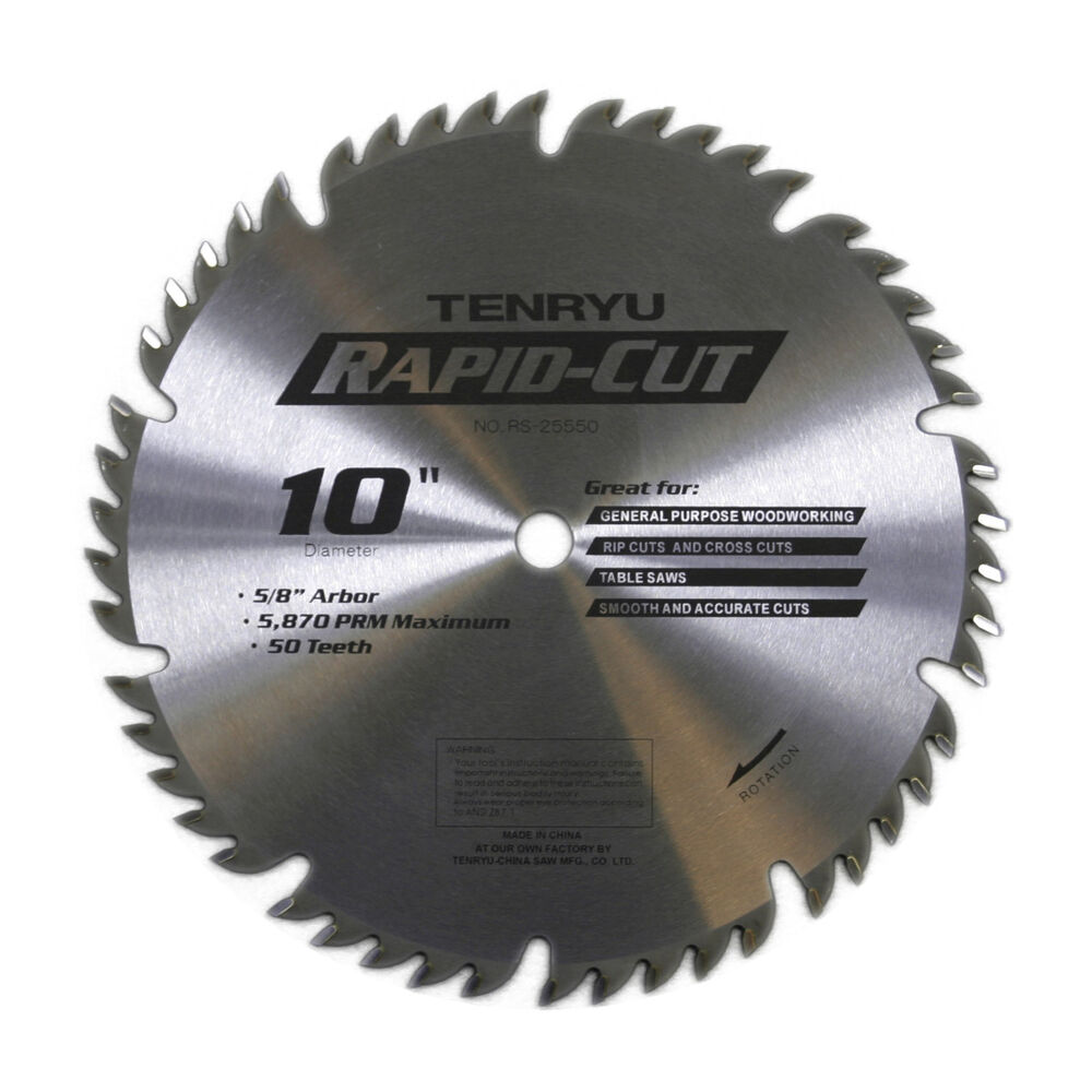 Tenryu Rs 25550 10 Inch Carbide Tipped Table Miter Saw Blade Ebay