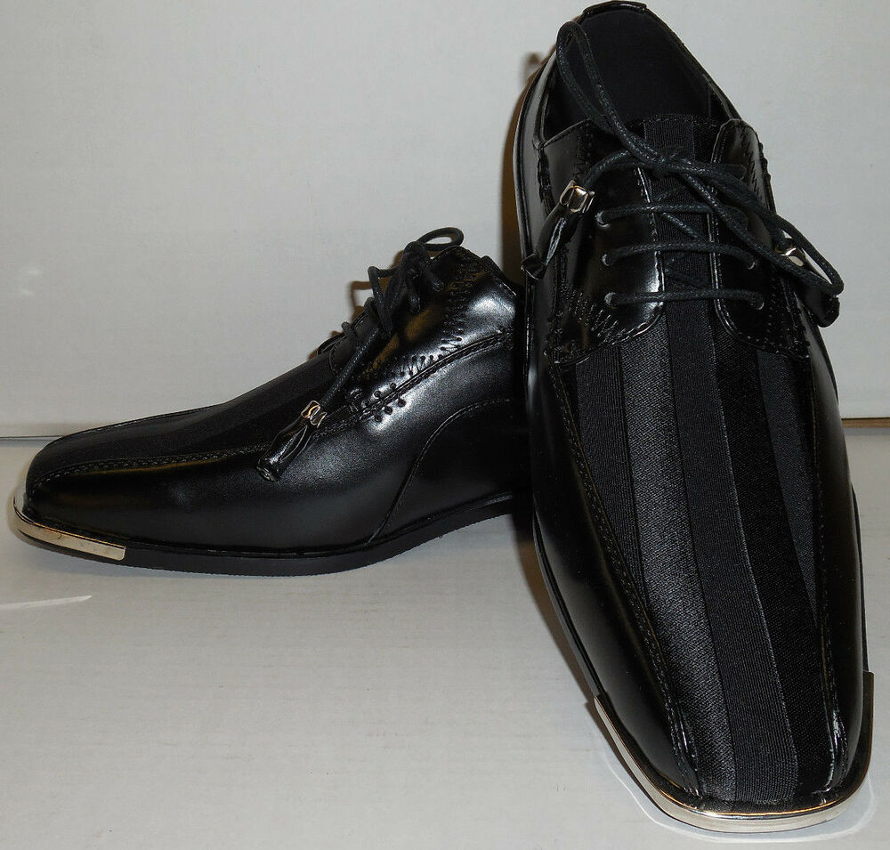 expressions 4925 mens black satin with silvertip modern