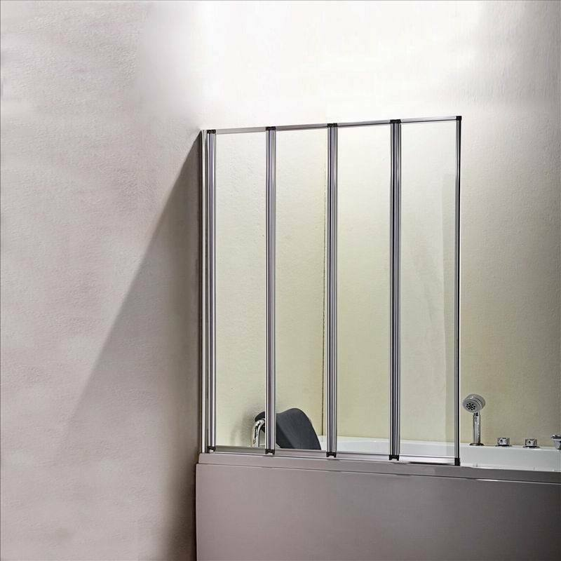 800x1400mm 4 Fold Folding Shower Bath Screen Over Glass