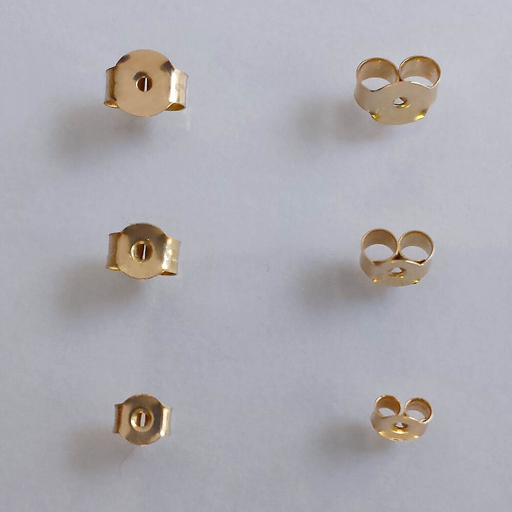 9 ct solid yellow gold stud earring butterfly back scrolls