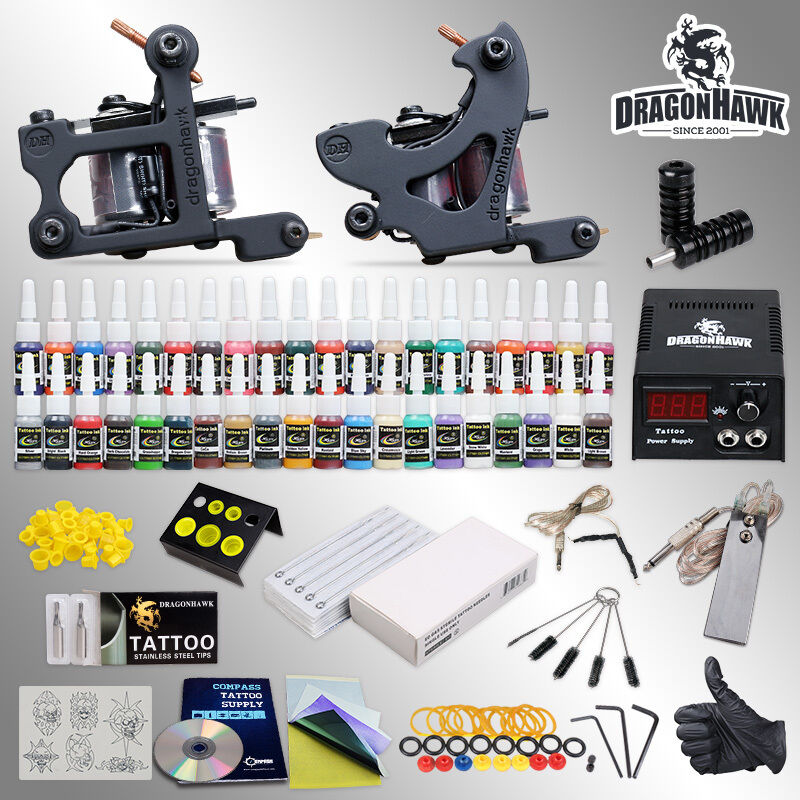 Complete tattoo kit 2 machine guns 40 ink equipment for Tattoo supplies ebay