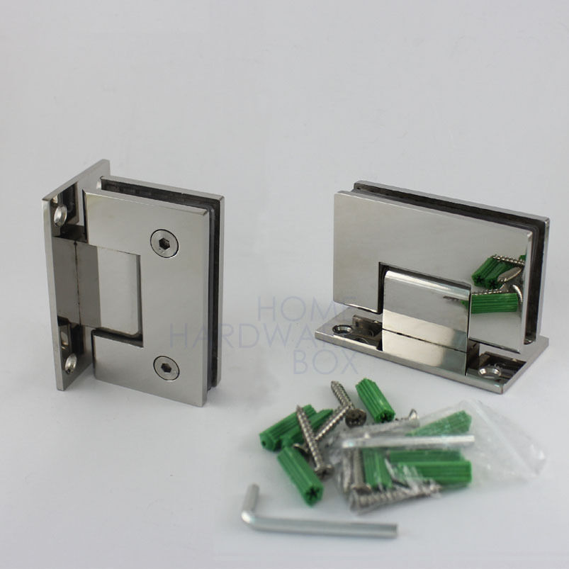 Pair glass shower door hinge chrome polished wall to glass for 1 2 frameless glass shower door