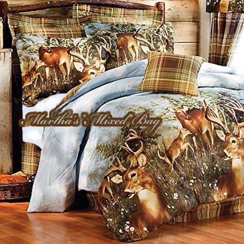 Whitetail deer buck hunting lodge cabin plaid comforter for Hunting cabin bedroom