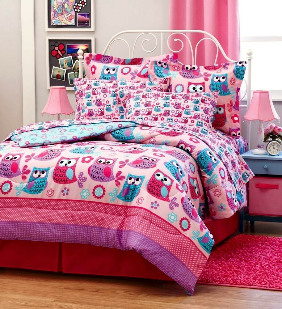 hoot owls girls pink teal nature flowers twin full queen size comforter bed set ebay. Black Bedroom Furniture Sets. Home Design Ideas
