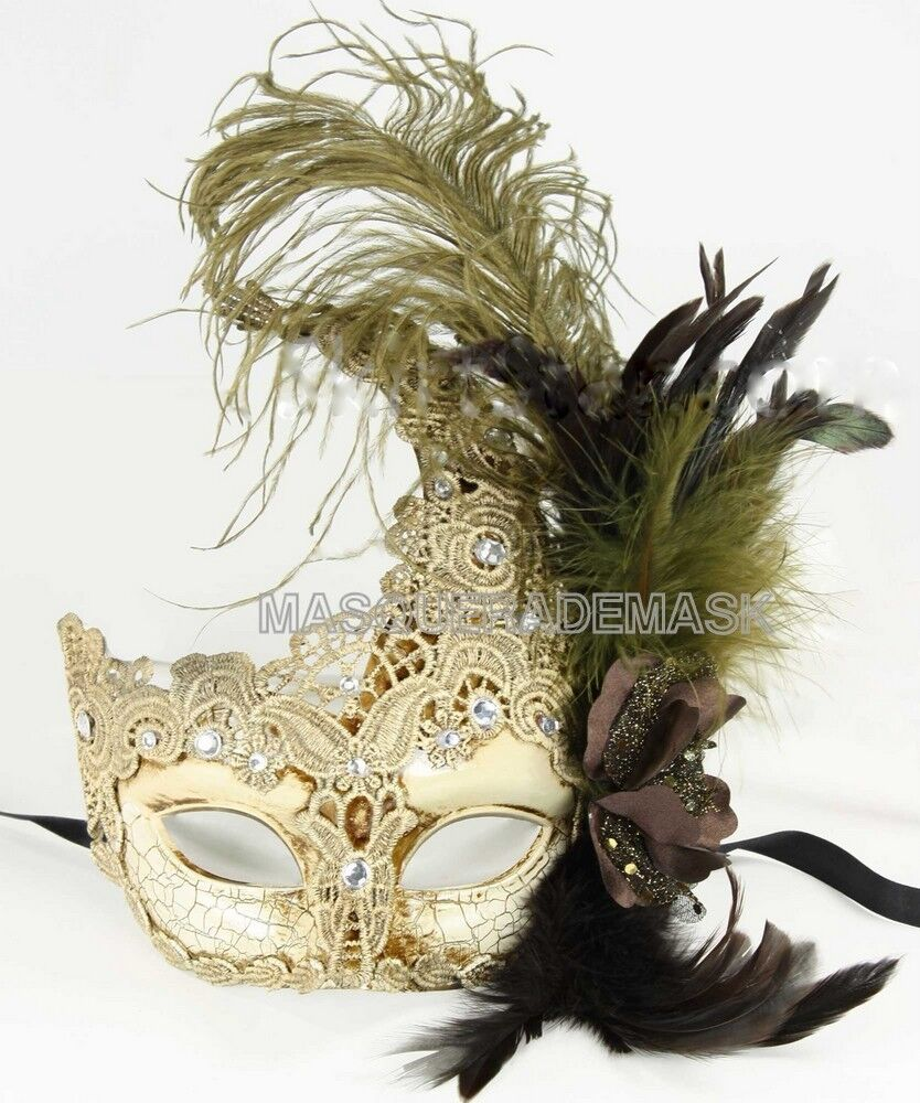 Pretty Ostrich Lace Peacock Halloween Masquerade Mask ...