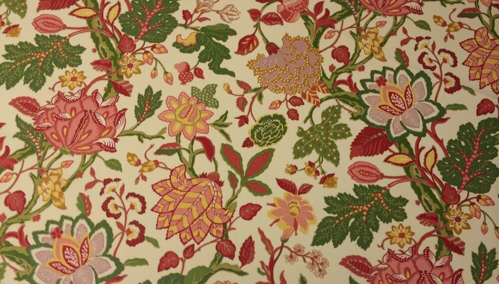 richloom large jacobean floral cream outdoor indoor fabric by the yard 54 w ebay. Black Bedroom Furniture Sets. Home Design Ideas
