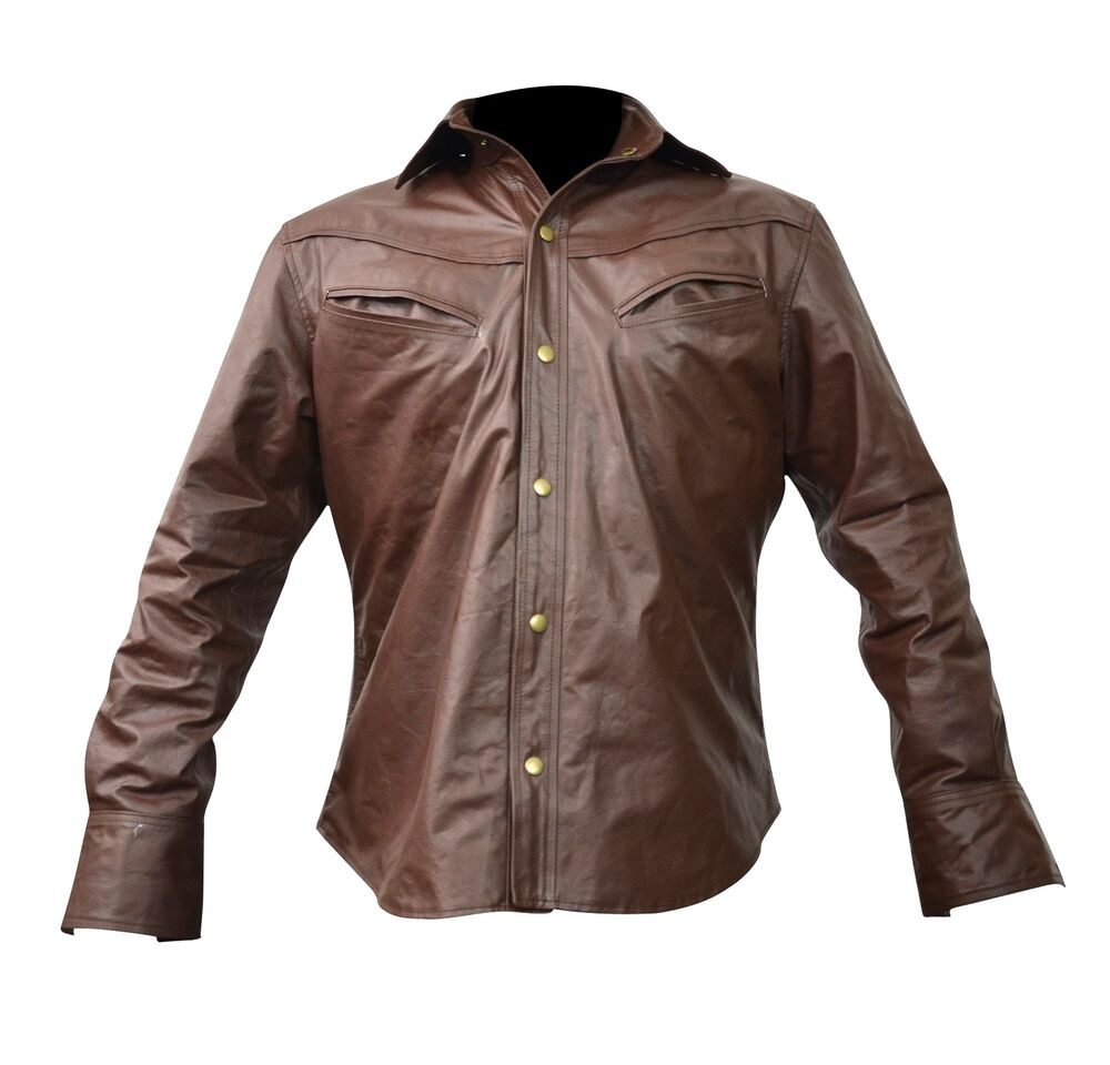 Men 39 s brown leather shirt new all sizes lll 433 small to for Mens shirts with leather