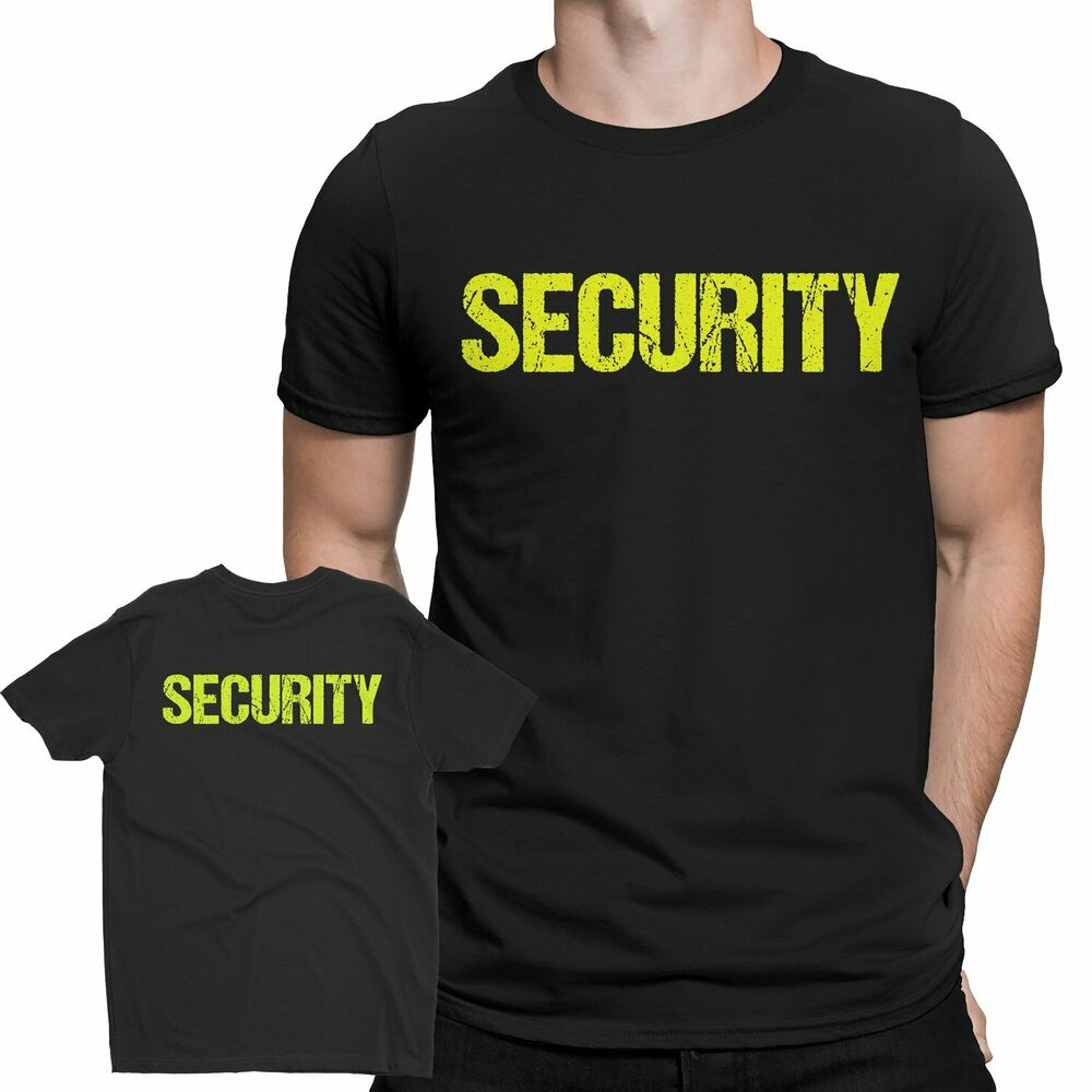 Mens black neon security t shirt screen printed front for T shirt screen printing nyc