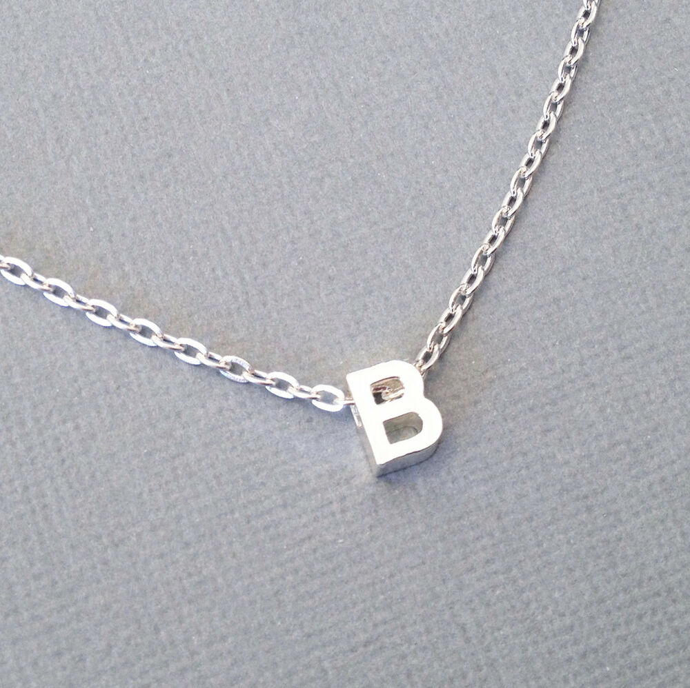 silver letter necklace alphabet initial pendant tiny