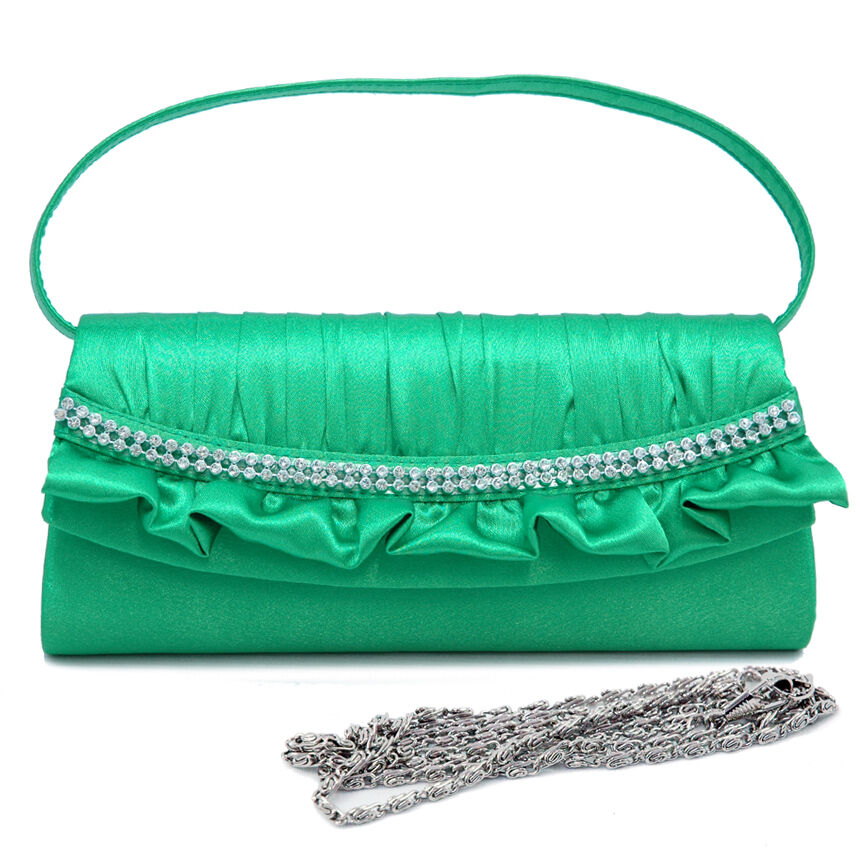 Rhinestone Decorated Satin Evening Bag Clutch Green | EBay