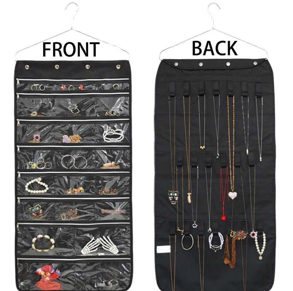 Hanging Jewelry Organizer With Zipper Hanger Earring