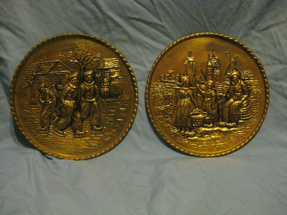 Lof 2 brass hammered wall plaques made in england ebay for Mode in england