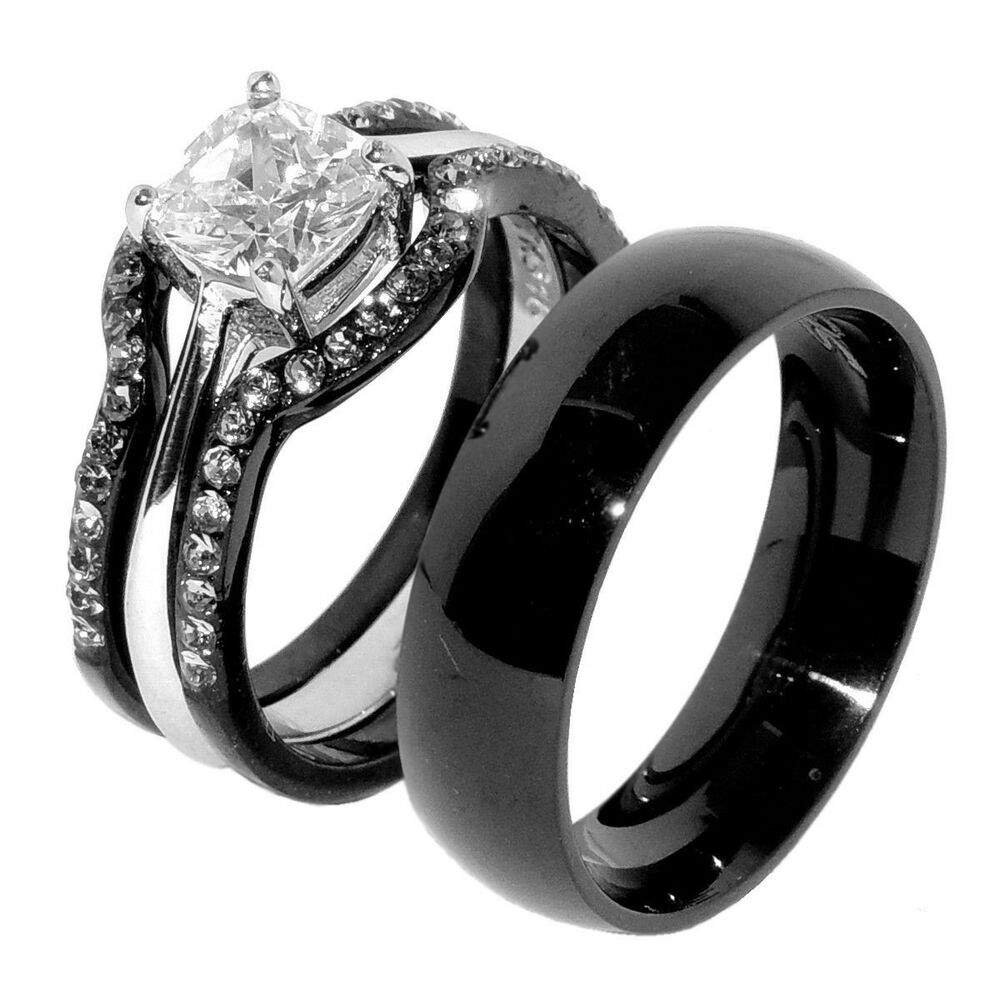 His & Hers 4 PCS Black IP Stainless Steel Wedding Ring Set ...