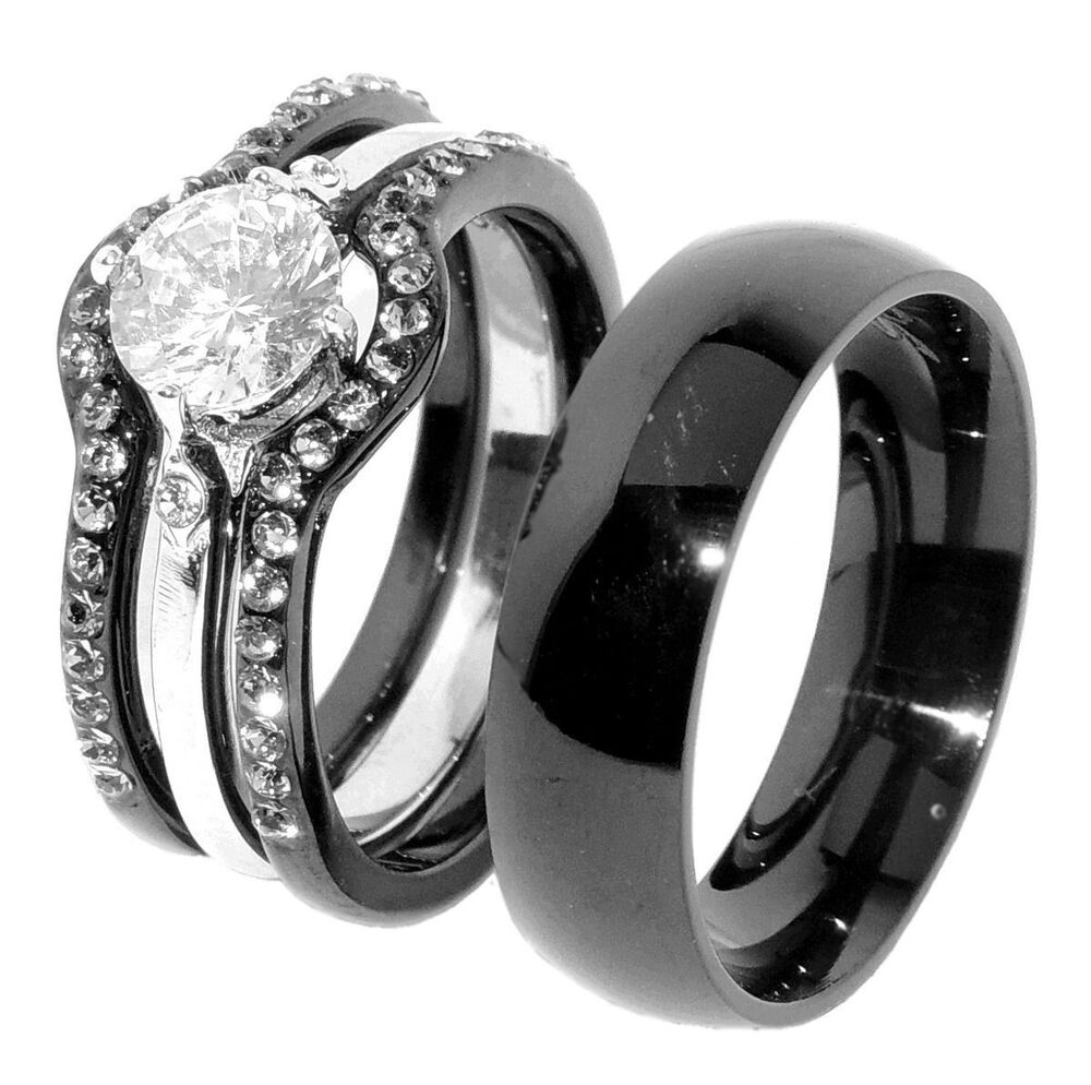 wedding ring trio sets his amp hers 4 pcs black ip stainless steel women engagement 1003