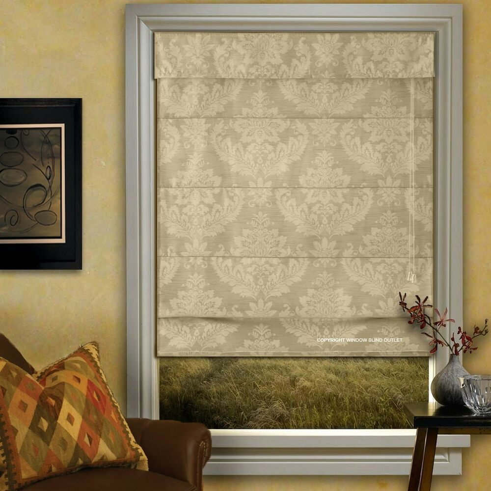 Medallion fabric roman shades many sizes free shipping for Roman shades for wide windows