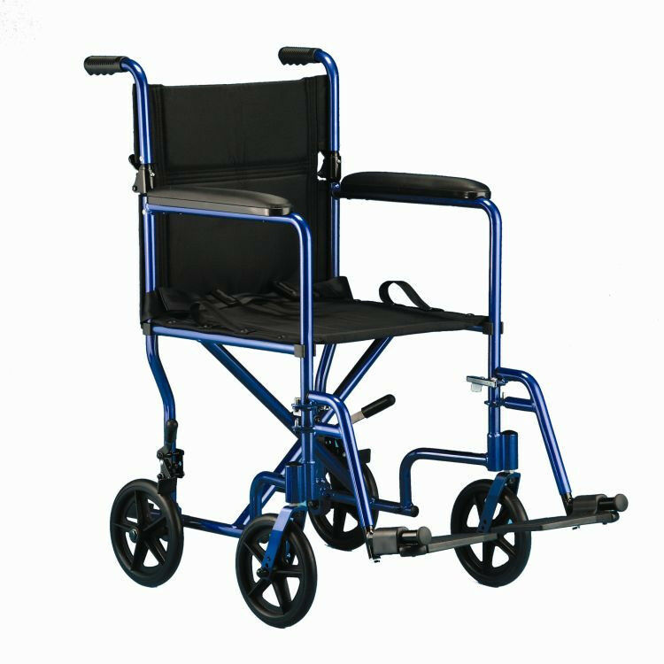 invacare 19 transport wheelchair folding lightweight blue. Black Bedroom Furniture Sets. Home Design Ideas
