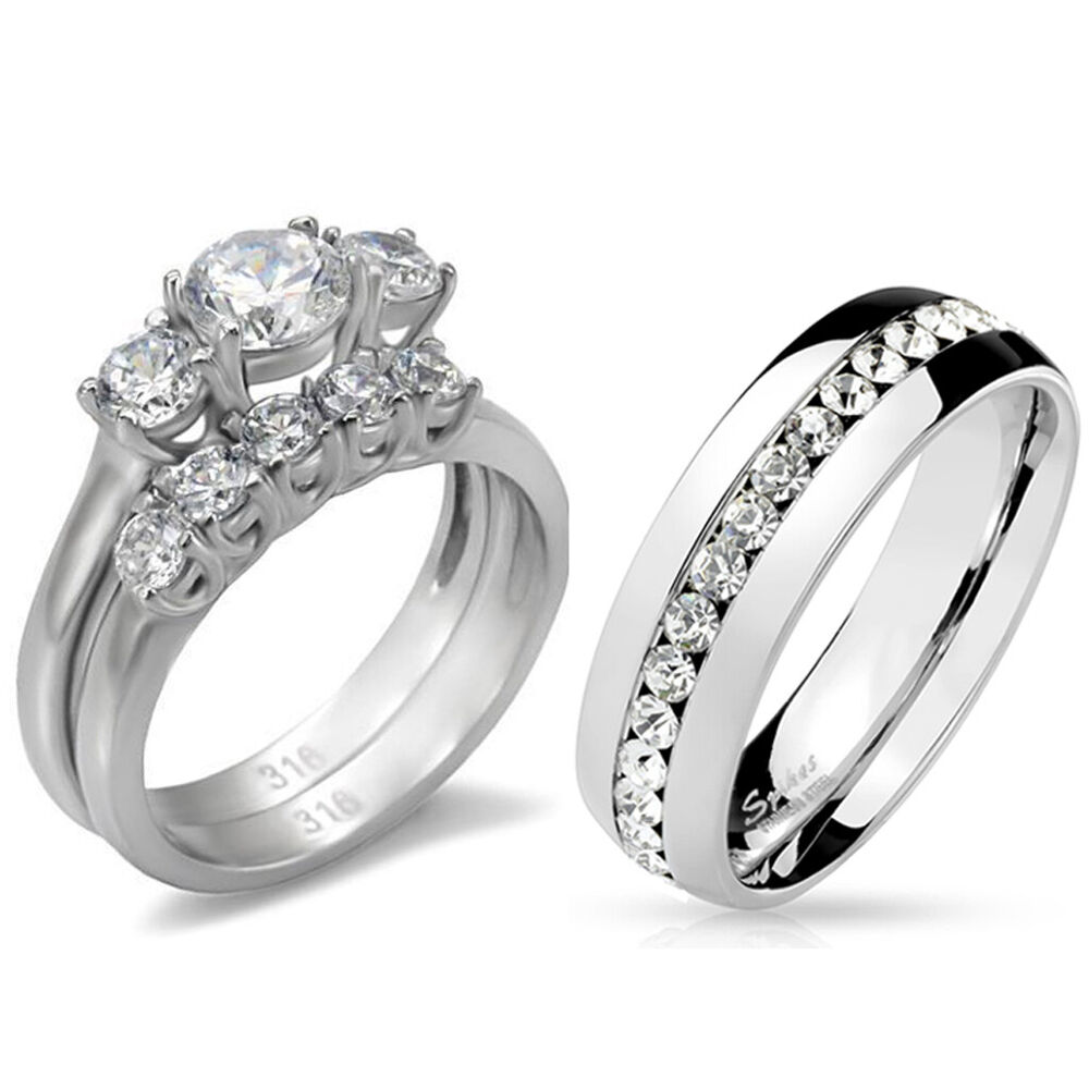 Stainless Steel Wedding Rings: His Hers 3 PCS Stainless Steel Womens Wedding Ring Set And