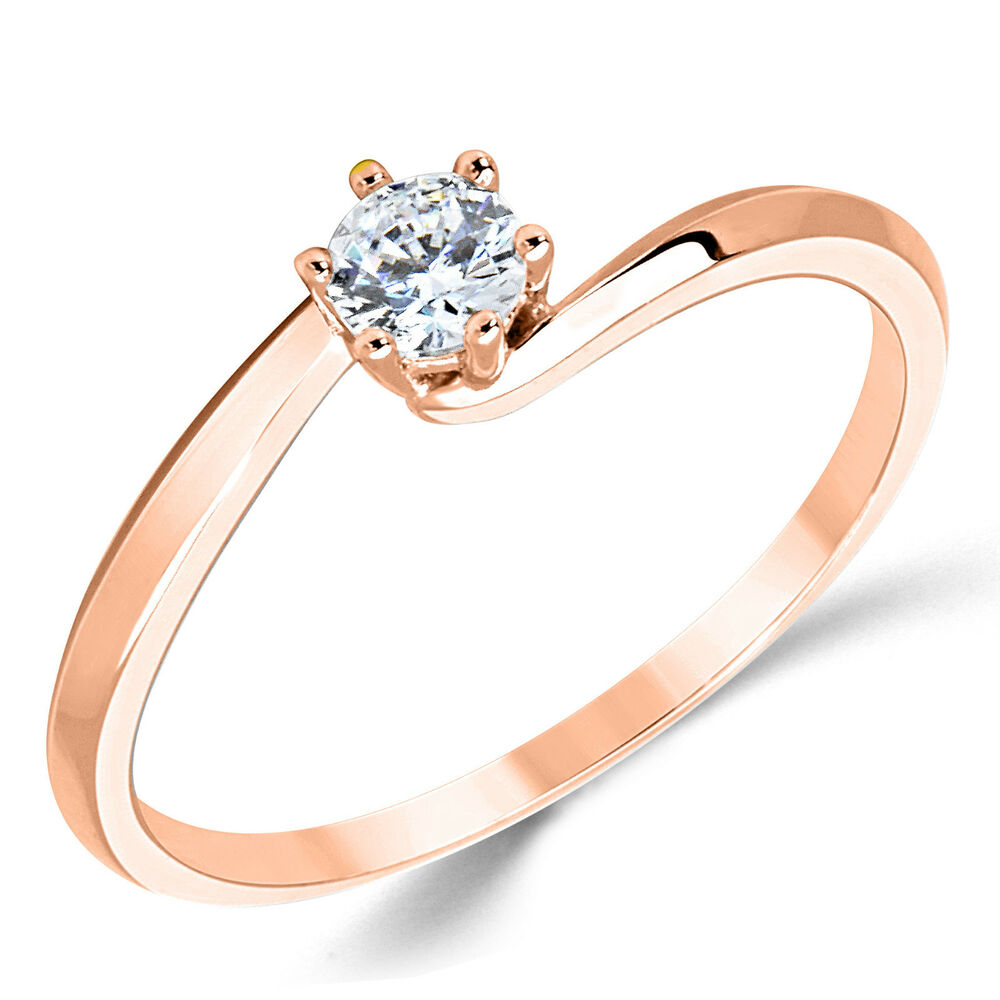 14k solid gold cz cubic zirconia solitaire engagement