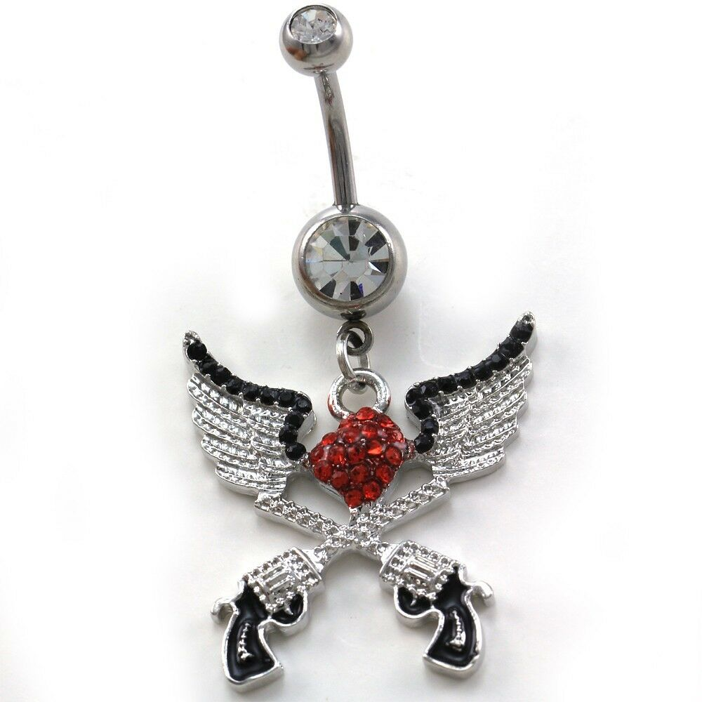 Angel wings red heart cowgirl revolver pistol gun dangle for Belly button navel jewelry