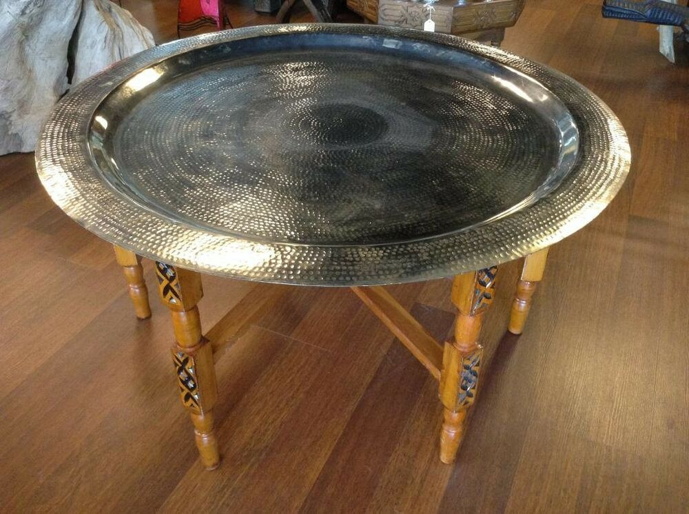 """Hammered Metal Coffee Table ... Tea Folding Table 23"""" Silver Tone Hammered Metal Tray Top 
