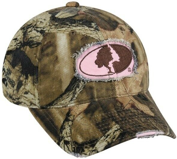 s mossy oak weathered look frayed pink logo