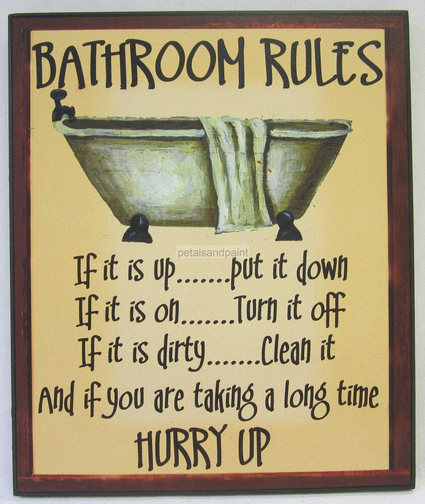 new novelty funny wooden wall sign bathroom rules rustic country style with bath ebay. Black Bedroom Furniture Sets. Home Design Ideas