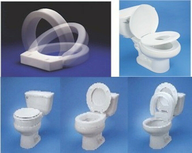 HINGED RAISED ELONGATED Or ROUND EXTENDED TOILET SEAT RISER EBay