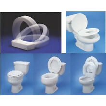 HINGED RAISED ELONGATED or ROUND EXTENDED TOILET SEAT RISER