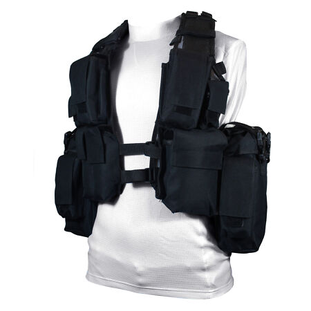 img-Black Tactical 12 POCKET ASSAULT VEST - Army Military Ammo Rig Utility Pouch