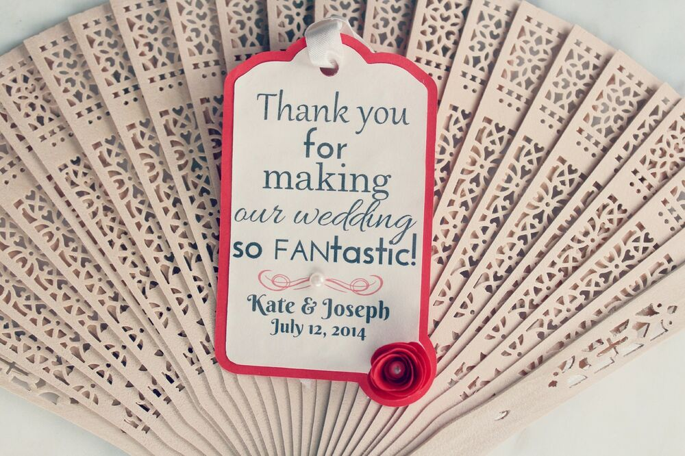 Wedding Fan Favour Personalised Gift Tags Destination And Modern Weddings Ebay