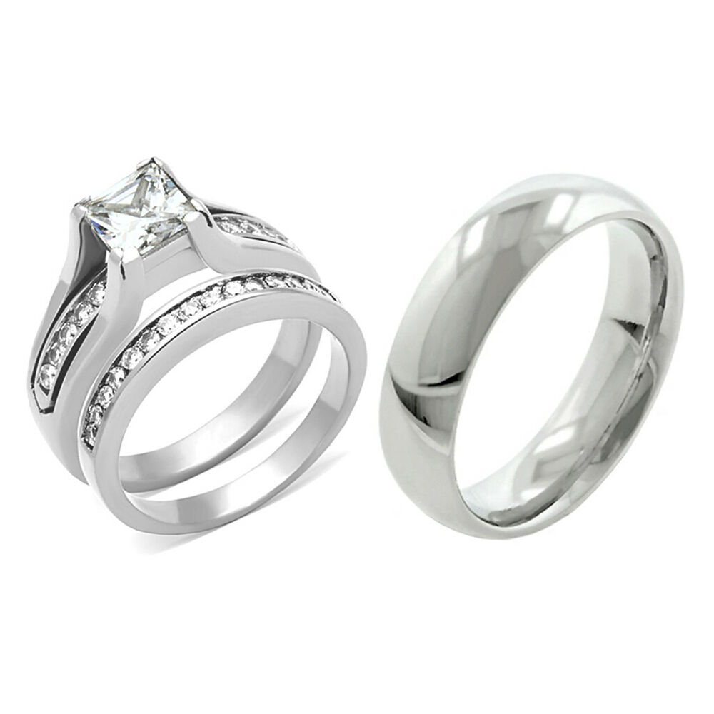 3 Piece Wedding Ring Set His Hers Jewelry Ideas