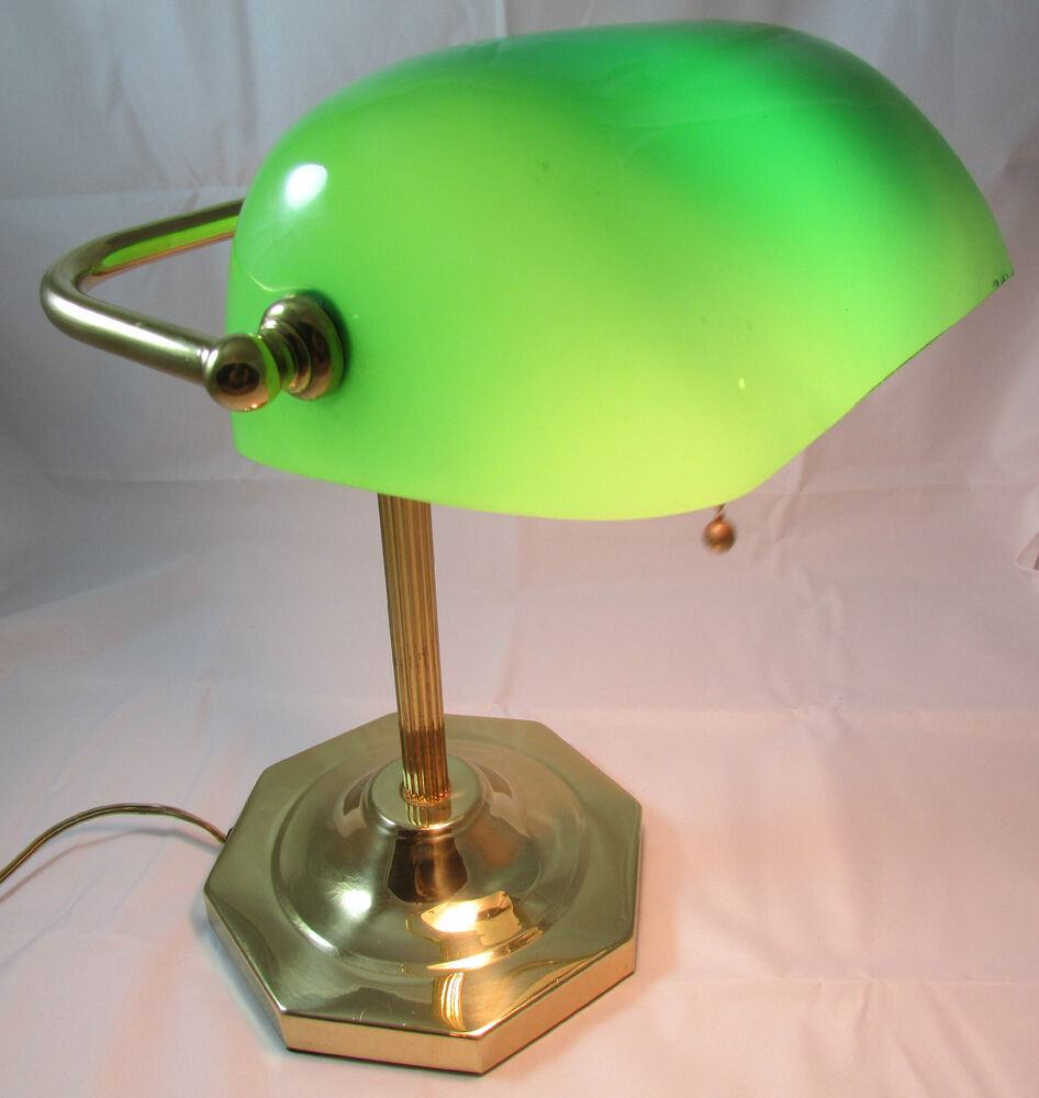 Classic Bankers Office Desk Lamp Piano Light Brass Green Glass EBay .