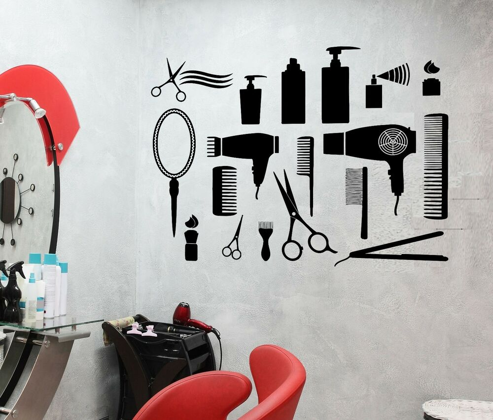 wall sticker vinyl decal hair salon barbershop beauty salon cool decor z2476 ebay. Black Bedroom Furniture Sets. Home Design Ideas