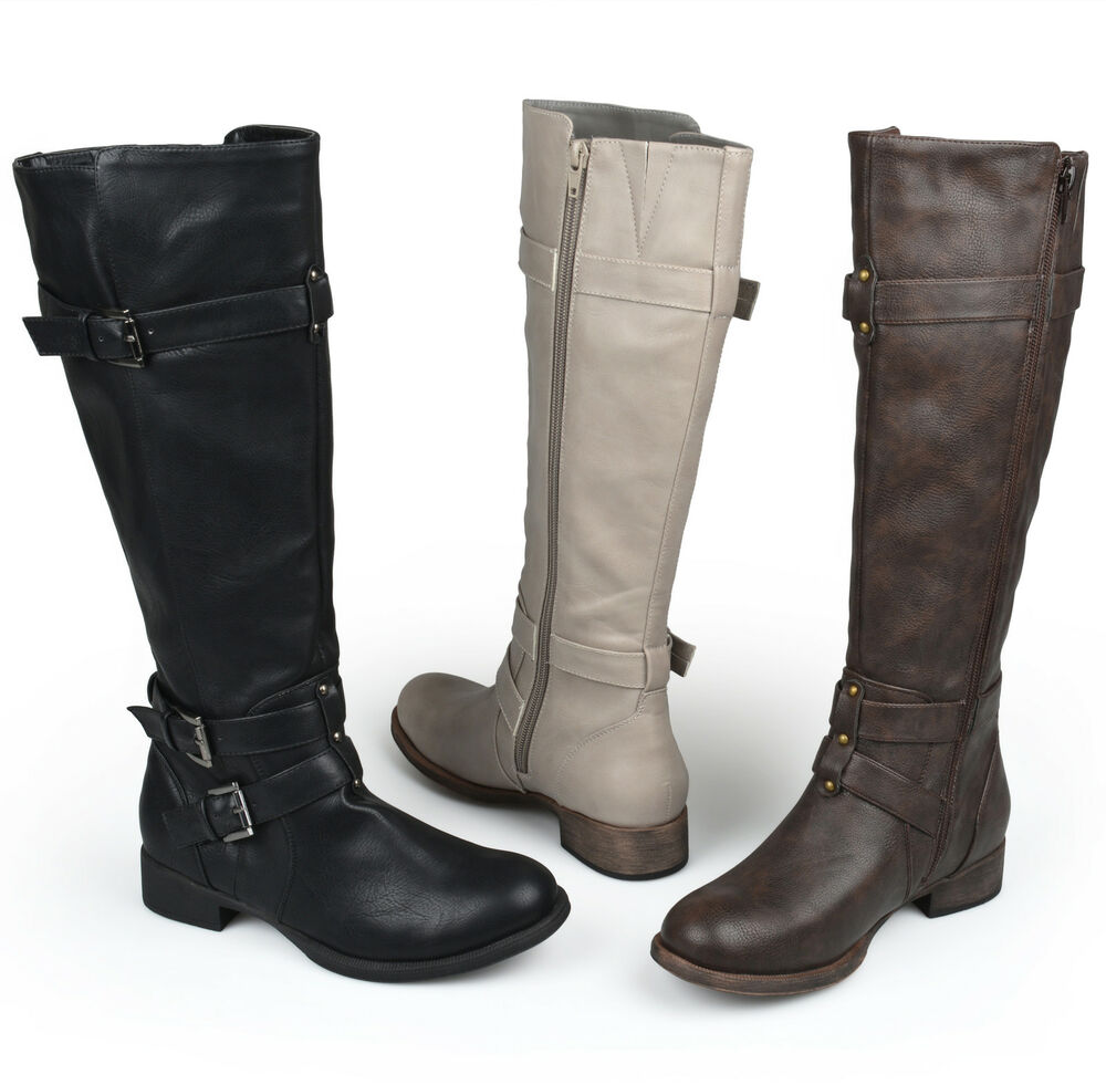 Popular WOMENS LADIES WIDE LEG KNEE HIGH MID CALF BLOCK HEEL RIDING BOOTS STRETCH SHOES | EBay