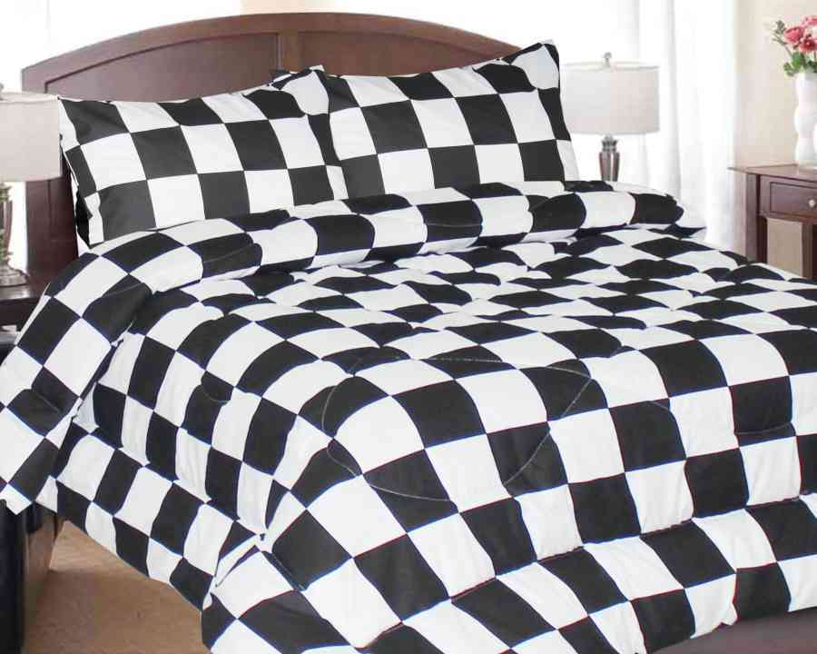 7 Pc Bed In Bag Set Black And White Checkered Flag