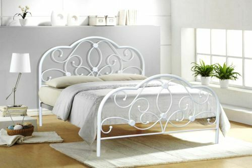 4ft6 double metal bed white alexis model bedroom furniture - All in one double bed ...