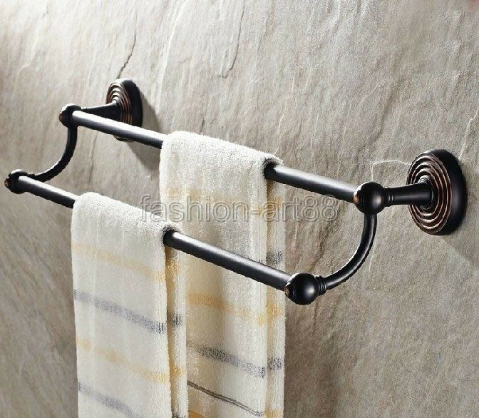 Black oil rubbed bronze wall mounted bathroom accessory Oil rubbed bronze bathroom towel bars