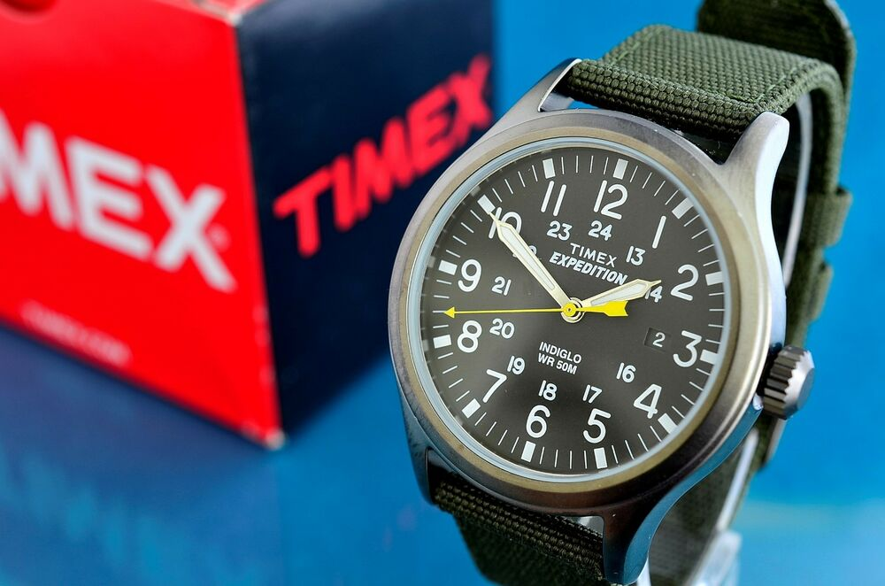 Vintage timex military style black faced 24 hour 40mm indiglo watch ebay for Indiglo watches