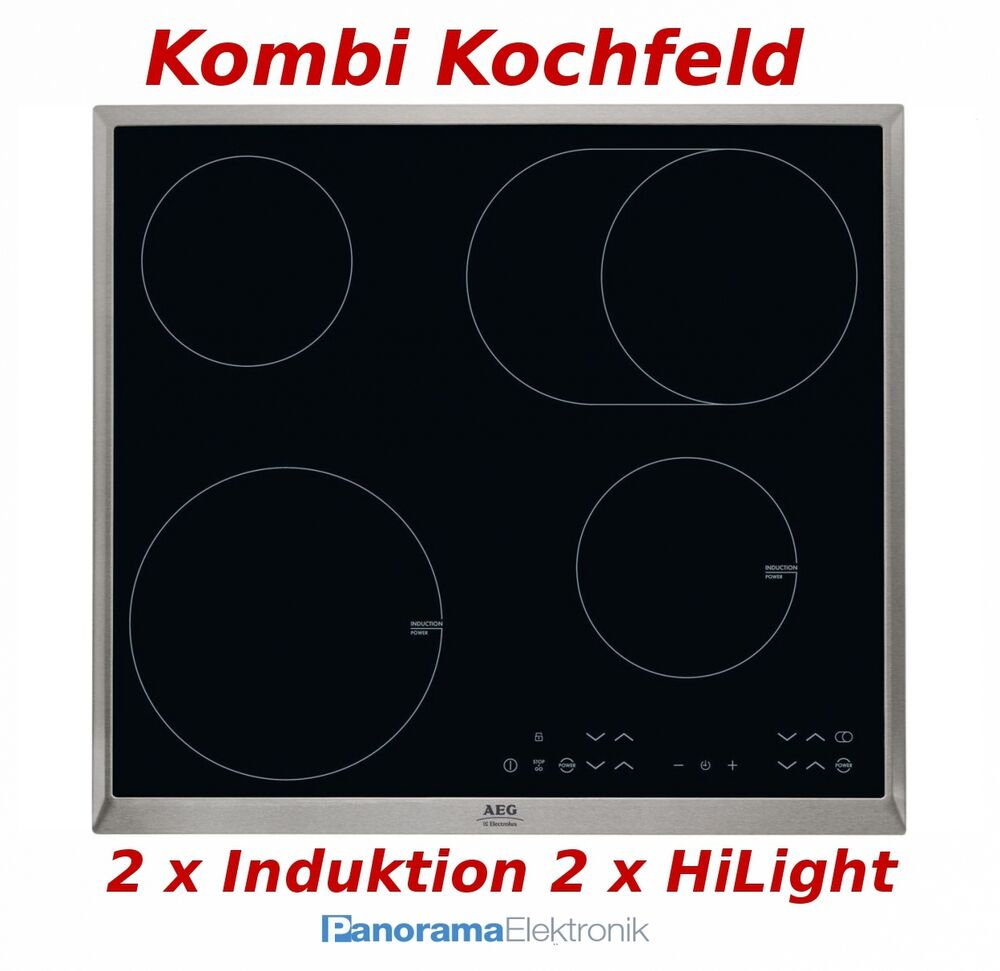 kombi kochfeld aeg hk634150xb autark 2 x induktion 2 x glaskeramik kochfeld neu ebay. Black Bedroom Furniture Sets. Home Design Ideas
