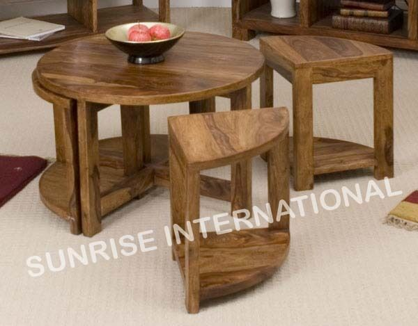 Sheesham wood - Wooden round coffee center table with 4 ...