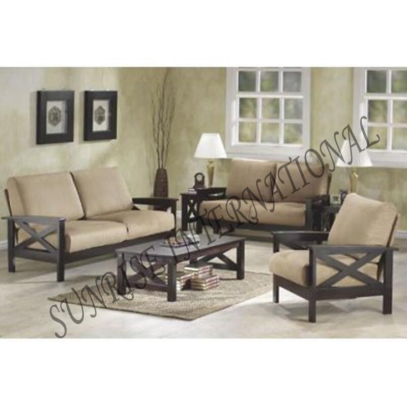 Sofa Centre Table: Handmade Wooden 3+1+1 Seater Sofa Set With 1 Center Table