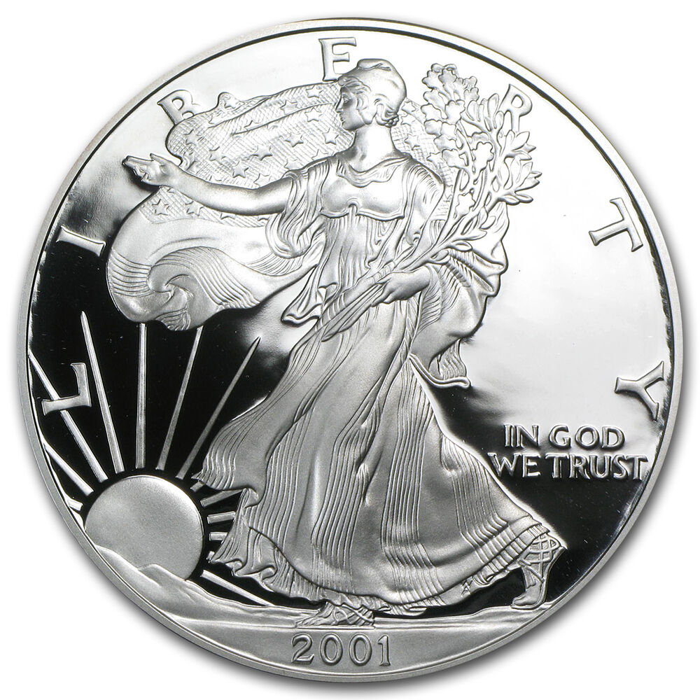 2001 W 1 Oz Proof Silver American Eagle With Box And