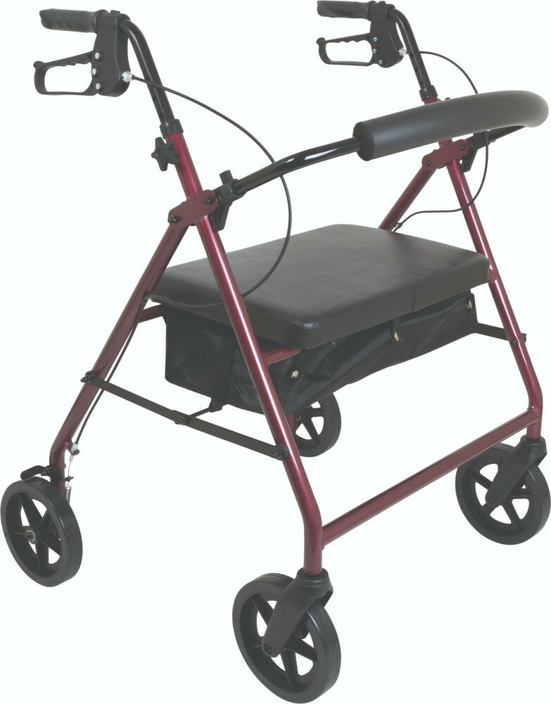 Compass Health Rolling Walker Rollator W Seat Back Heavy