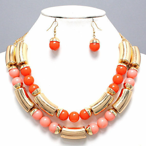 Twisted Color Coral Style Necklace & Earrings Set
