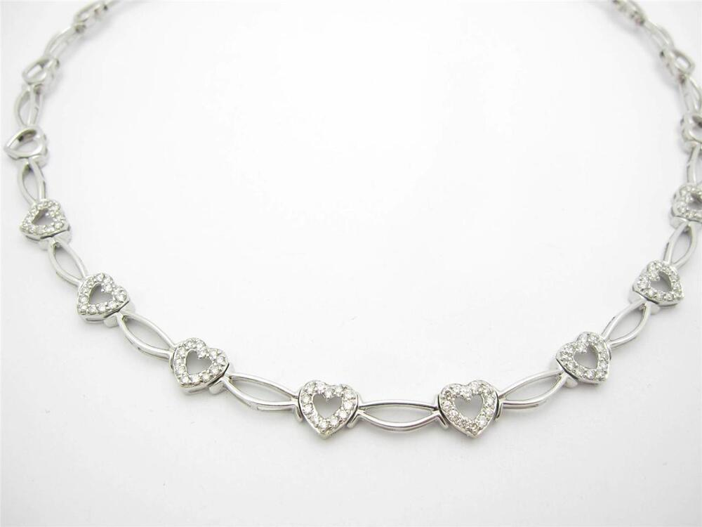 Wedding Gift Necklace: 14k Solid White Gold Genuine Diamond Heart Tennis Necklace