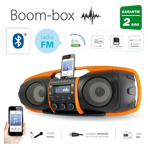 radio fm enceinte portable bluetooth stereo double subwoofer smartphone usb sd ebay. Black Bedroom Furniture Sets. Home Design Ideas